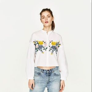 Zara White Floral Embroidered  Blouse